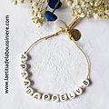 Bracelet Alphabet Initiales Cadeau de Naissance - 9 € jusqu'à 8 lettres, 11 € jusqu'à 12 lettres
