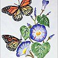 Aquarelle 18x24-24x30 Encadrée (Monarques sur fleurs bleues) [1]