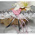 Jarretière de mariée papillon dentelle rose gris blanc accessoire de mariage romantique
