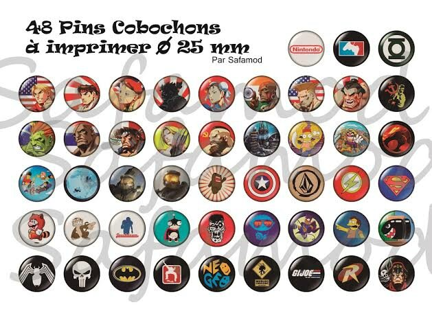 Images digitales pins cabochons ronds 25 mm