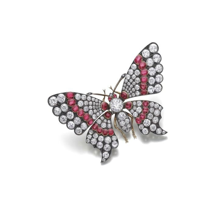 Ruby and diamond brooch, late 19th century