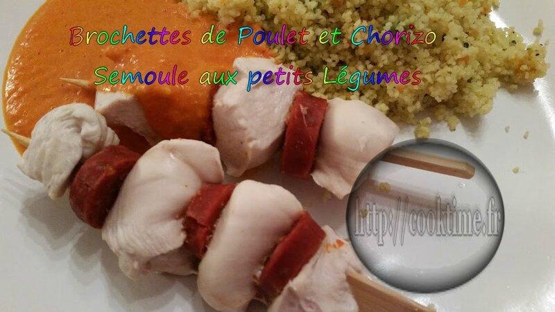 Brochettes de poulet au Chorizo semoule aux petits légumes