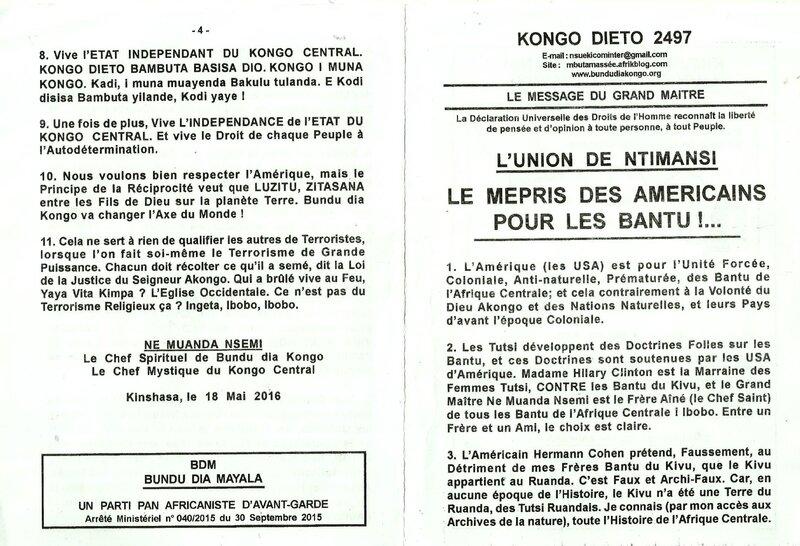 LE MEPRIS DES AMERICAINS POUR LES BANTU a