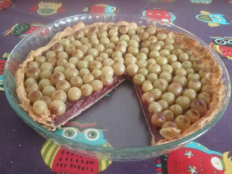 Tarte aux raisins blancs et à la compote de nectarines 2