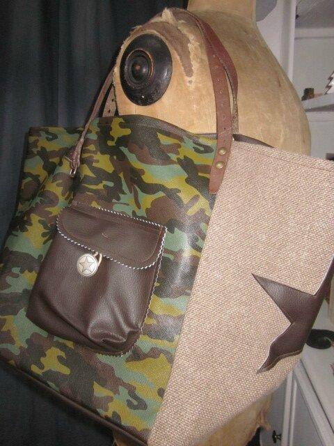 Sac cabas FELICIE n°15 en vinyl camouflage et lin taupe