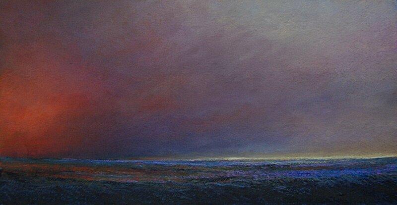 horizon elevation 53, fev 2016, pastel à l'huile, 64 x 34 cm