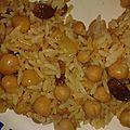 Riz pilaf pois chiches et raisins secs