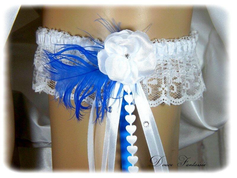 Jarretière de mariée dentelle blanc bleu roi