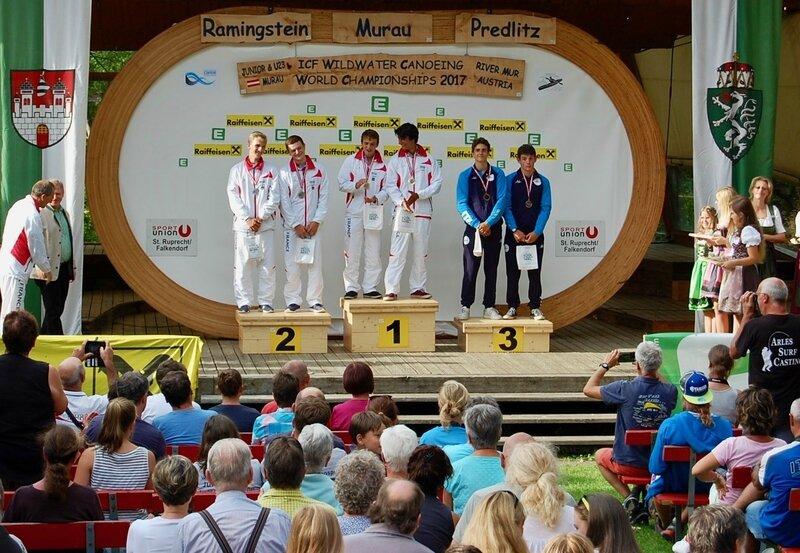 CANOË KAYAKCOLLIGNON GRÉHAN CHAMPIONS DU MONDE JUNIORS podium large