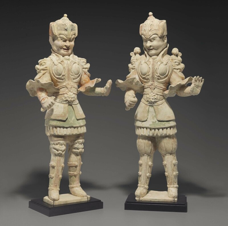 Two large painted pottery figures of guardians, Tang dynasty (AD 618-907)