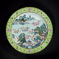 A large turquoise-ground famille-rose 'children at play' dish, jiaqing period, 1796-1820