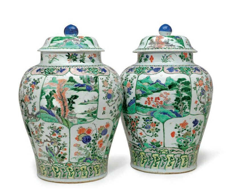 A large pair of famille verte jars and covers, Kangxi period (1662-1722)