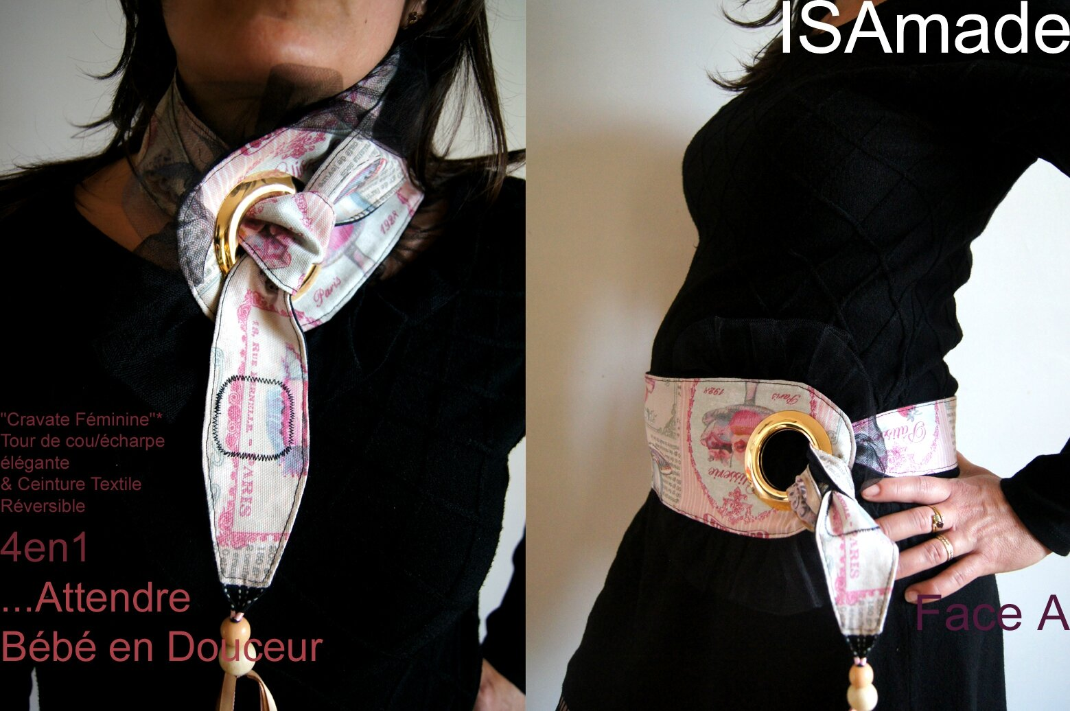 Cravate Ceinture rose transformable et reversible