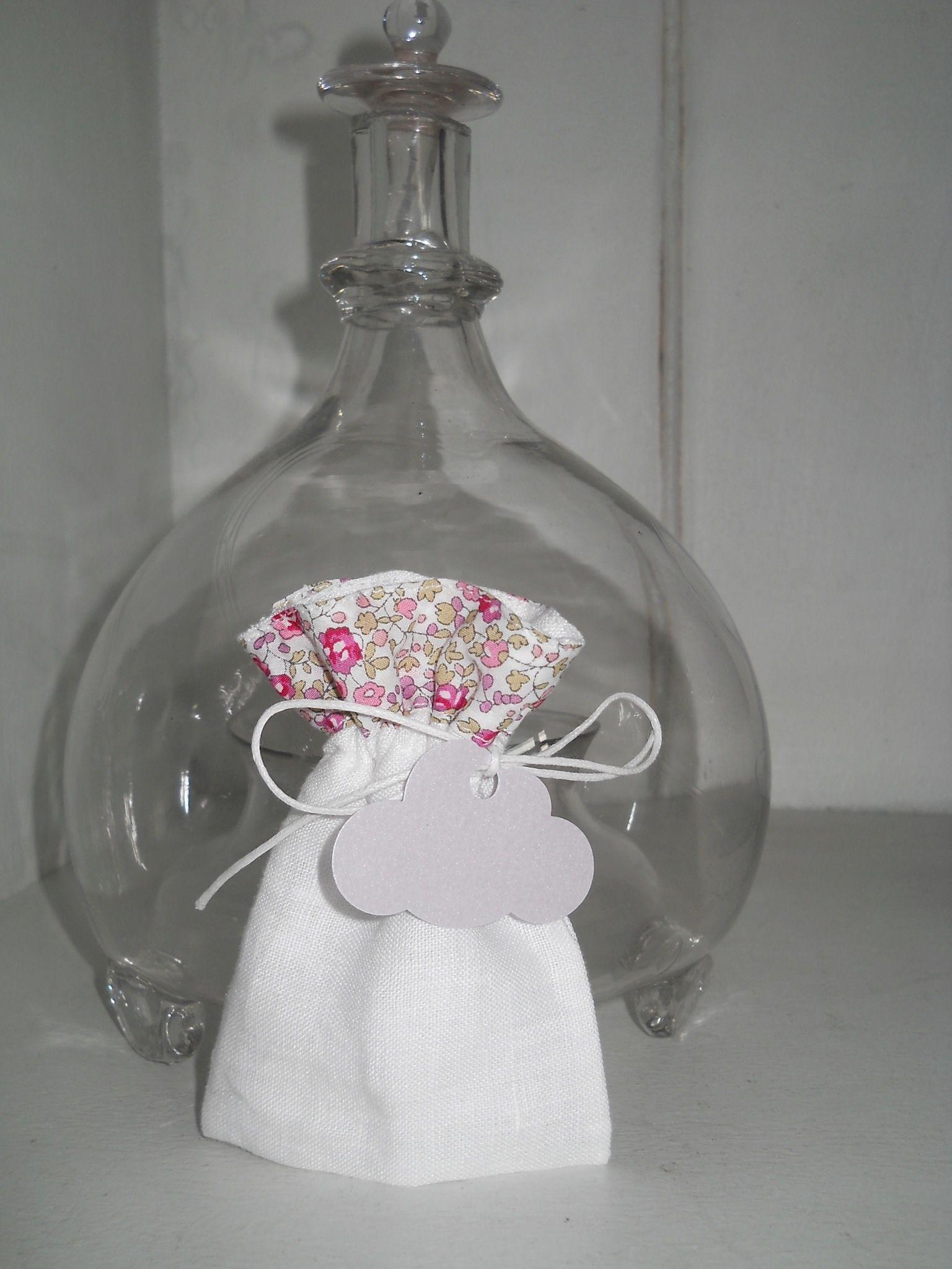 Pochon dragées lin blanc