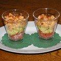 verrines crevettes, avocat, tomate
