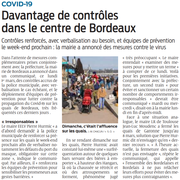 2021 03 02 SO Covid-19 Davantage de contrôles dans le centre de Bordeaux
