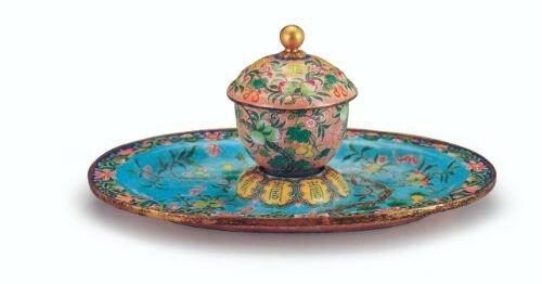 Gilt copper cup and saucer with painted enamel rendering of the happiness and longevity motif, Qing dynasty, Yongzheng mark and period, National Palace Museum, Taipei © The Collection of National Palace Museum