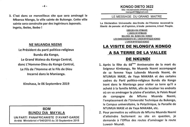 LA VISITE DE NLONGI'A KONGO A SA TERRE DE LA VALLEE DE NKUNDI a