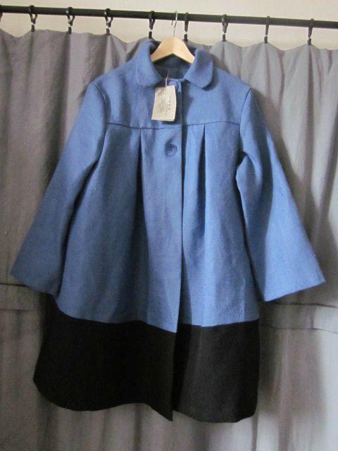 manteau d'été bicolore en lin bleu france et noir (28)