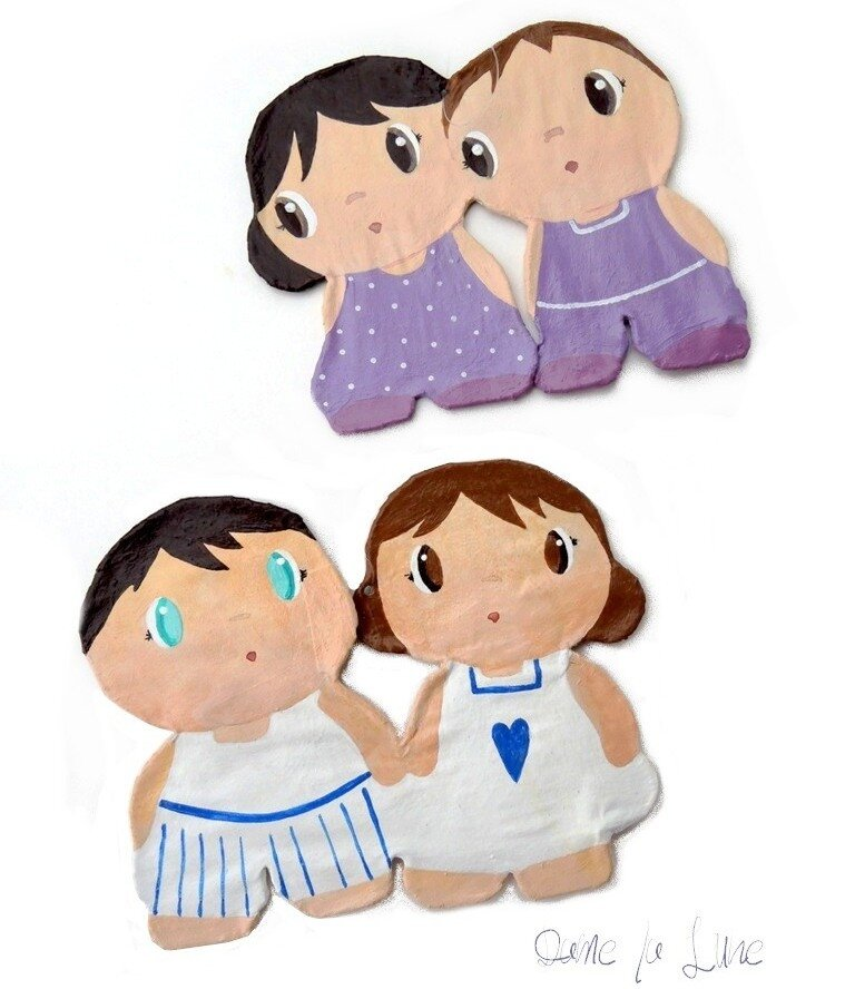 figurines_silhouettes_peint à la main_suspension_petit couple_création_dame_la_lune_decor