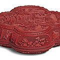 A well carved cinnabar lacquer lobed box and cover, qing dynasty, qianlong period (1736-1795)