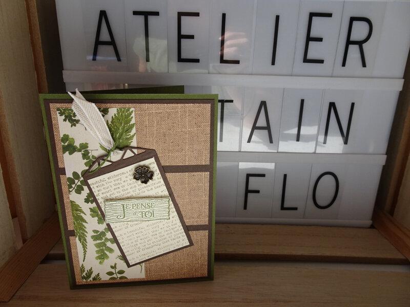 16a Carte Papiers Fleurs séchées et tag Splendeur à superposer