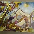 Huile sur toile, la montagne sainte victoire, paul robin
