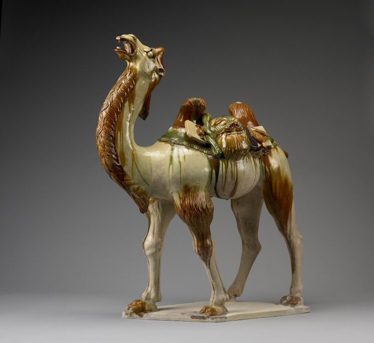 'Sancai' (three-colour) ceramic tomb figure of a camel, 728