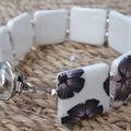 Bracelet Blanc a fleurs grises et roses