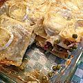 ♥ lasagne aux petits pois, jambon, champi et chèvre.