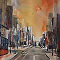 Aquarelle de new york, ciel orange