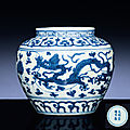 A small ming blue and white 'dragon' jar, jiajing six-character mark within double-circles and of the period (1522-1566)
