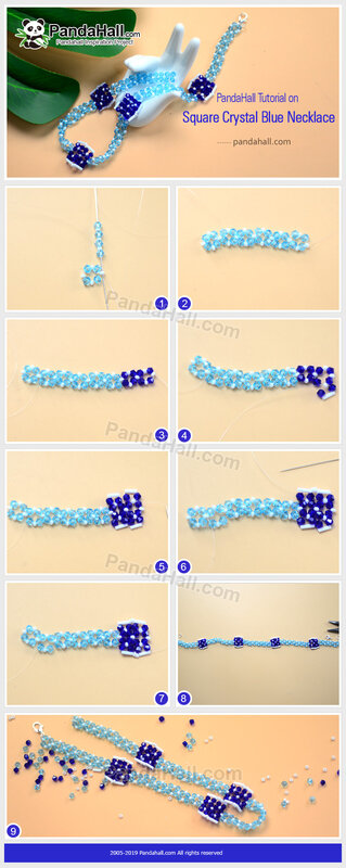 4-PandaHall-Tutorial-on-Square-Crystal-Blue-Necklace