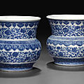 A pair of small blue and white zhadou, daoguang seal marks in underglaze blue and of the period (1821-1850)