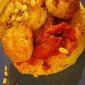 Crevettes au piment d'espelette, compotée de poivron et polenta