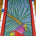 écharpe perroquet en peinture sur soie 2008