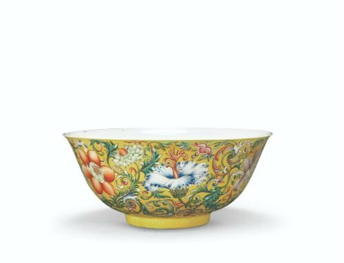 Yellow-ground bowl with lotus scrolls pattern in yangcai painted enamels, mark and period of Qianlong, Palace Museum, Beijing