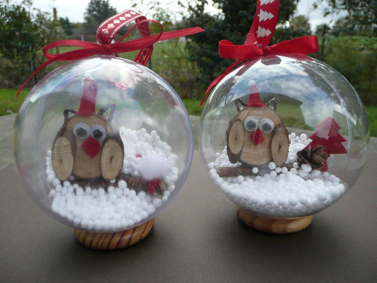 Personnaliser Une Boule De Noel Transparente boules de noël hibou - l'atelier créatif d'hélène