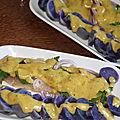 Assiette de pommes de terre vitelottes aux harengs fumes