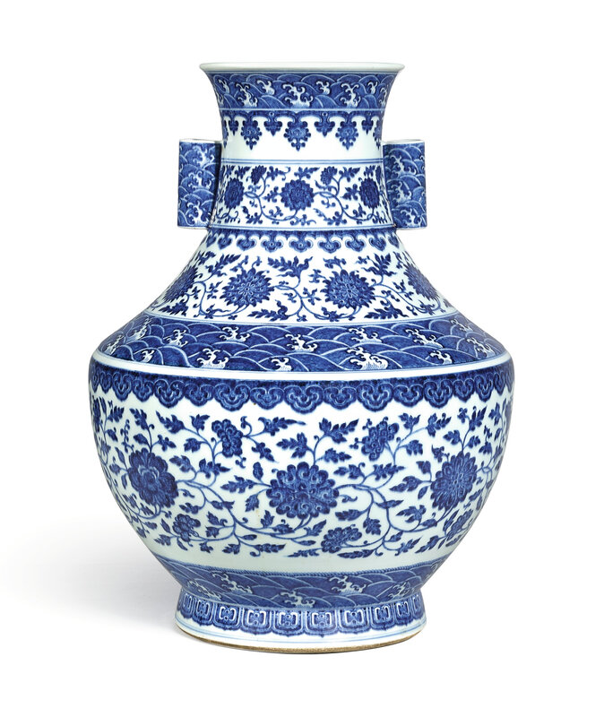 A fine and large blue and white 'floral' vase, hu, seal mark and period of Qianlong (1736-1795)