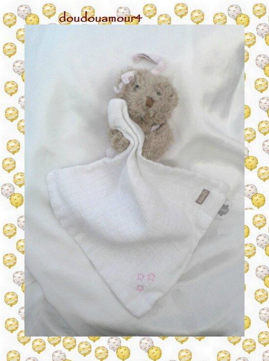 Doudou Peluche Ours Marron Mouchoir Blanc Etoile Absorba