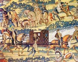 La reine en litière, extrait de la tapisserie des Valois, le voyage