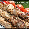 P'tites brochettes de porc, marinade à l'érable