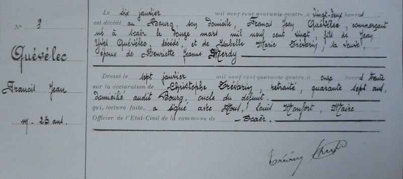 Acte de décès de Francis Quevelec le 6 janvier 1944