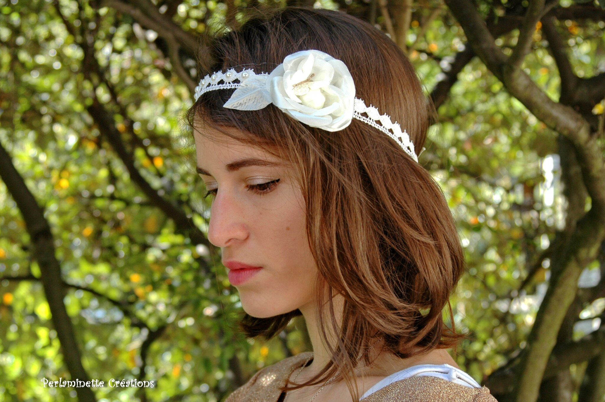 Headband serre tête mariage rose et papillon bohème chic