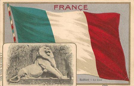 CPA Belfort Lion & drapeau français 2