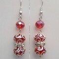 Boucles d'Oreilles Style Oriental Sanaz Perles Facettées Crystal Rouge Argent Du Tibet