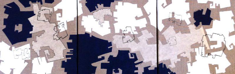 toiles, triptyque 3x (30x30 cm)